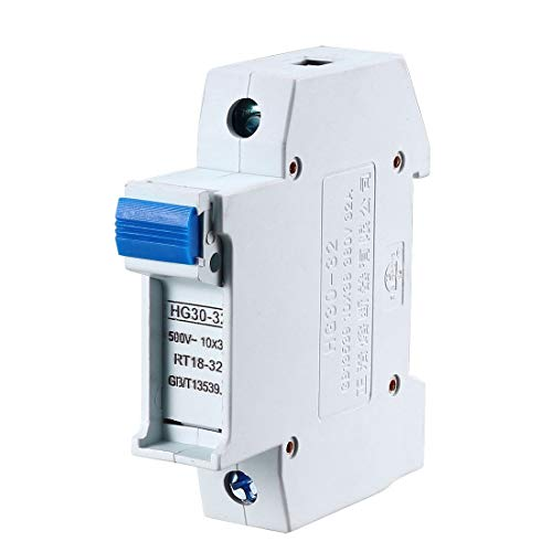 uxcell DIN Rail Mount Fuse Holder Single Pole HG30-32 for RT14 RT18 Fuse Gray ()
