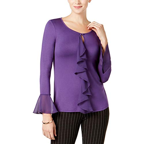 (Cable & Gauge Womens Ruffled Bell Sleeves Pullover Top Purple XL)