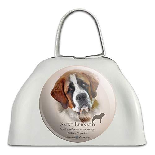 (Saint Bernard Dog Breed White Metal Cowbell Cow Bell Instrument)