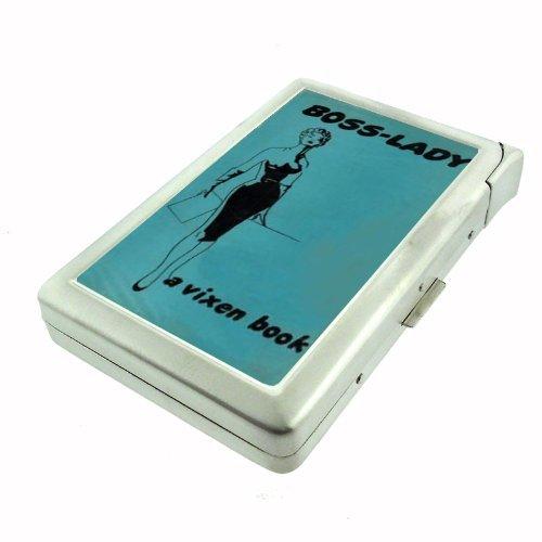 Metal Cigarette Case with Built in Lighter Boss Lady Vixen D11 100's Size Cigarettes Silver Metal Wallet 4.75