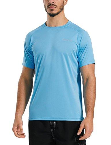 (Baleaf Men's UPF 50+ Outdoor Running Workout Short-Sleeve T-Shirt Blue Size XL)