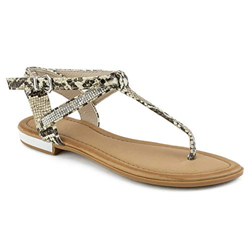 RF ROOM OF FASHION Embellished T Strap Snake Print Thong Sandals Beige Size.8 (Embellished T-strap Sandals)