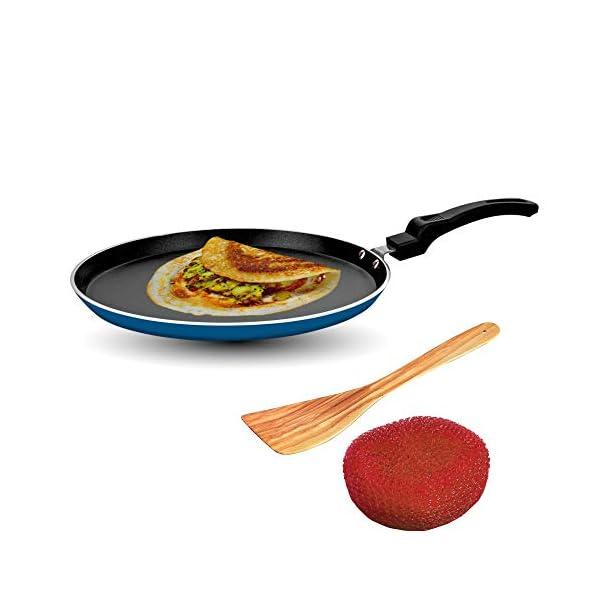 Sunblaze Aluminium Non-Stick Cookware Induction Base Multipurpose Flat Dosa, Paratha, Chapati and Roti Tawa Blue 25 cm