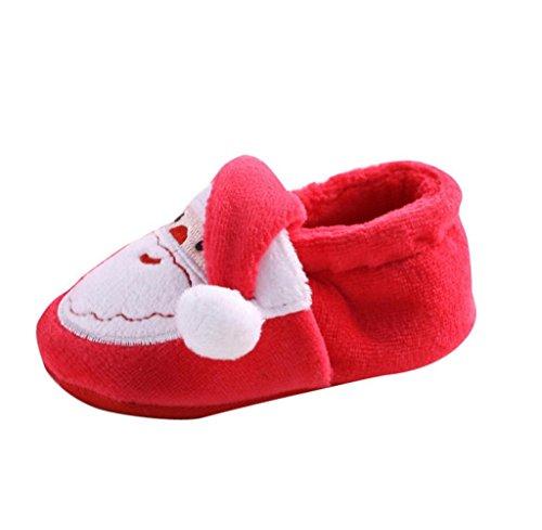 Gloous Toddler Infant Newborn Santa Claus Soft Sole Baby Girl Boy Prewalker Shoes (Red, (Squeak Santa)