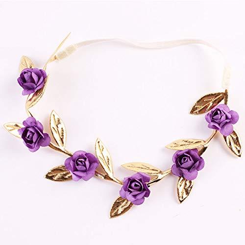 Baby Girls Rose Garland Chic Wedding Elastic Hairband Crown Wreath Headdress Tiara Bridal Hair Accessories purple