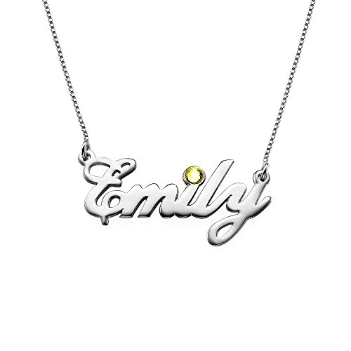 (Sterling Silver Personalized Name Necklace with Swarovski Birthstone Pendant - Custom Made Jewelry)