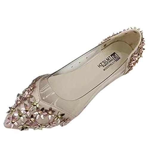 Binying Women's Pointed Toe Shallow Mouth Suede Metal Flower Pumps Pink 9DEvp