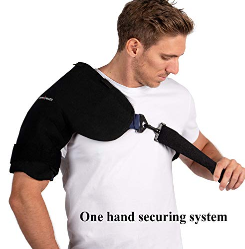 Shoulder Compression Ice/ Hot/ Cold Gel Wrap for Shoulder Injuries (Medium to Large Frame Fit) - Rotator Cuff, Rheumatoid Arthritis, Bursitis, Osteoarthritis,Tendinitis, AC Joint Pain Relief by Thermopeutic (Image #1)