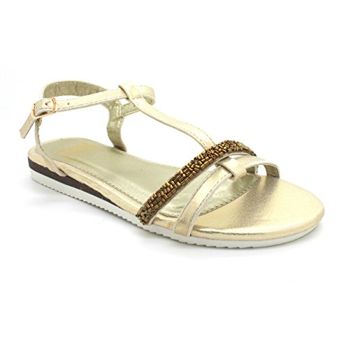 Sandalia XTI metalizado oro