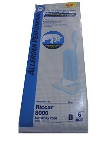 Series Hepa Filtration - Riccar 8000 Series Type B HEPA Filtration Bags, 6 Pack.