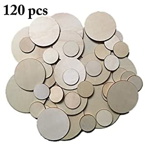 Outgeek 120PCS Wood Slice Creative Unfinished Wooden Circle for DIY Craft