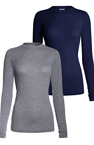 MedPro Women's Medical Scrub Solid Long Sleeve Undershirt Multi Pack ASTD:Heather Gray,Navy L (Layering Pro Tee)