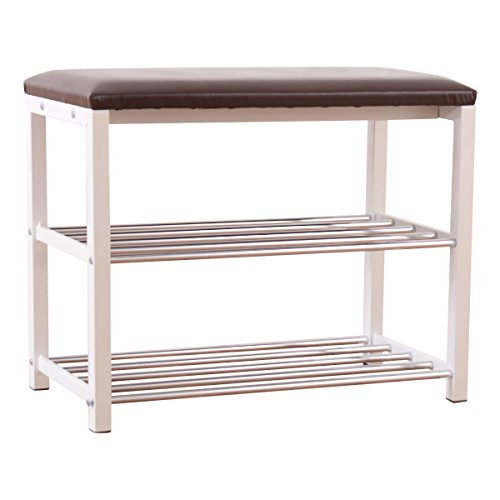 Giantex 3-Tier Storage Shoe Rack Bench Seat Organizer Shelf Home Dorm Entryway Brown (Rack Shelf 3 Bench)