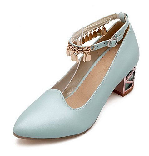 AllhqFashion Damen Eingelegt Weiches Material Mittler Absatz Schnalle Spitz Zehe Pumps Schuhe Blau
