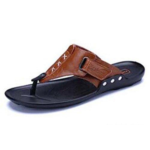 XIAOLIN Zapatillas de verano de cuero de los hombres de suave fondo antideslizante zapatillas Zapatillas británicas zapatos de playa de tendencia personalizada (tamaño opcional) ( Color : 03 , Tamaño  01