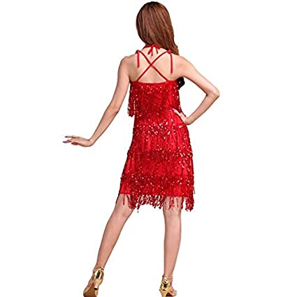Autumn Water Dance Dress for Girls Women Latin Dance Dress Ballroom Dance Wear Tassel Latin Costume