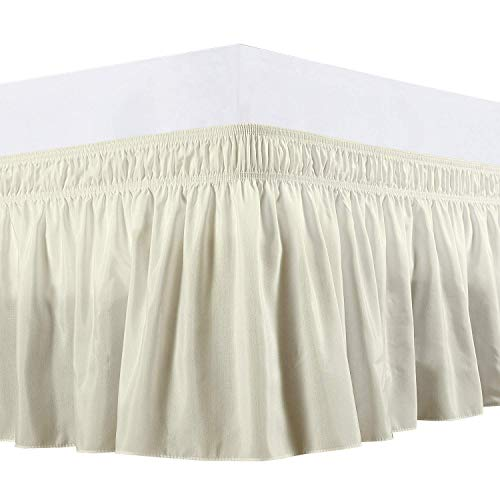Cottingon Wrap Around Elastic Bed Skirt,Three Sides Fabric, Solid, Easy On/Easy Off Dust Ruffled Bed Skirts 16 Inch Drop (Twin/Twin-XL-Ivory) (Bedskirt Xl Twin)