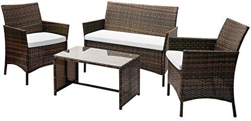 Leisure Zone 4 PC Rattan Patio Furniture Set Wicker Conversation Set Garden Lawn Outdoor Sofa Set