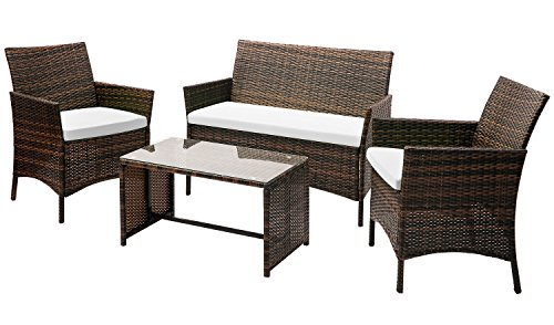 Leisure Zone 4 PC Rattan Patio Furniture Set Wicker Conversation Set Garden Lawn Outdoor Sofa Set with Cushioned Seat and Tempered Glass Table Top (Beige)