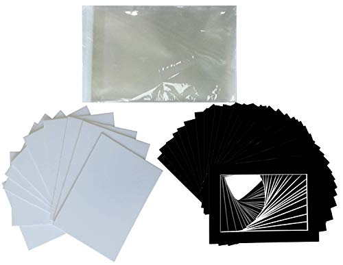 4x5 Mat - Hall of Frame Pack of 25 Black Pre-Cut Picture Mat 5x7 inches for 4x6 Photo White Core Bevel Cut Mattes Sets + Backing Board + Clear Plastic Bags (Pack of 25 Black 5x7 Complete Set)