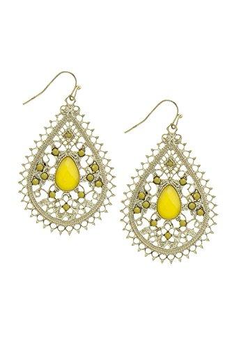 BAUBLES & CO FILIGREE FAUX JEWELED TEARDROP EARRINGS (Plastic Yellow Earrings)