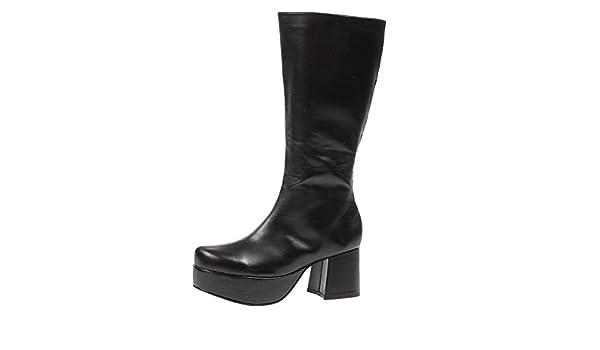 2e5410f41 Amazon.com | Summitfashions Men's Rockstar Costume Knee High 3 Inch Chunky  Heel Platform Boots Black Poly Size: Medium | Chukka
