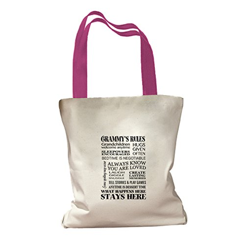 Grammy'S Rules Canvas Colored Handles Tote Bag - Hot Pink (Colored Rule)