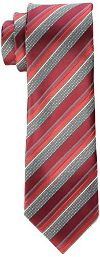 Geoffrey Beene Men's Priceless Stripe Tie, Red, One Size (Stripe Geoffrey Beene Mens)
