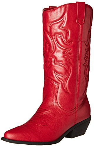 Soda Women's Red Reno Western Cowboy Pointed Toe Knee High Pull On Tabs Boots,Color Reda, Size:9
