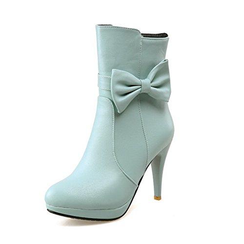 Allhqfashion Women's Soft Material Zipper Round Closed Toe High-Heels Low-top Boots Blue 3AYvde