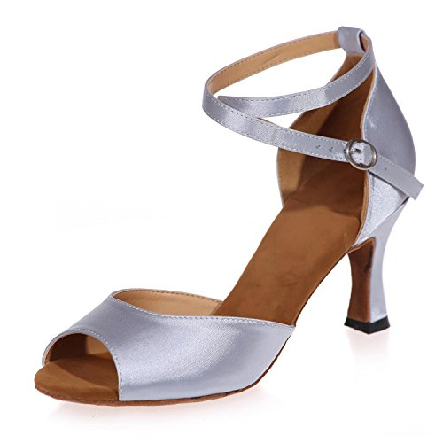L@YC Women High Heel Shoes Open Toe Leather/Cuba Made With Professional Indoor Fabric White