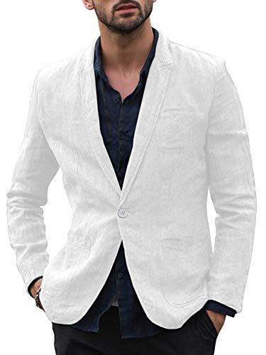 Taoliyuan Mens Linen Blazer Jacket Half Lined Casual Slim Fit Lightweight Solid Two Buttons Sport Suit Coat (XX-Large, B-White)