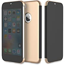 Rock Dr. V Full Screen Window Cellphone Protective Case For Iphone 7 Plus TPU+PC Soft Microfiber Full Screen Protection ( Color : Gold )
