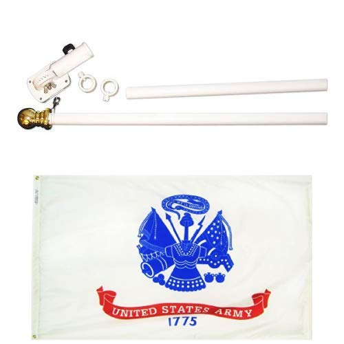 ft. Nyl-Glo U.S. Army Military Flag and 6 ft. 2 Section Spinning Pole Mounting Set ()