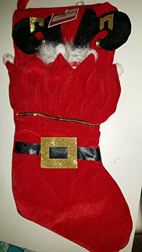 Red Velour Santa's Elf legs sticking out and elf stuffed in stocking with black belt & gold buckle with feathers and bells on shoes
