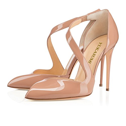 Heel 100mm Handmade Beige Straps Womens d'Orsay Pointy Kolnoo Mailitante Pumps Shoes High Fashion Black RFqIxwIfz