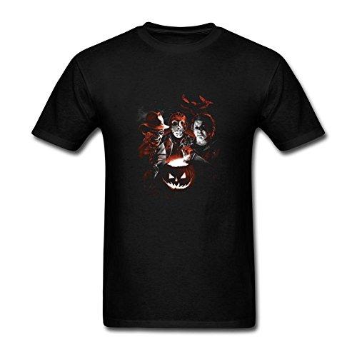 ZhiBo Horror Dark Night Halloween Pumpkin Killer Team for a Nightmare on Elm Street for Friday the 13th for Jason for Freddy Krueger for Sam Custom T-shirts for Men Black