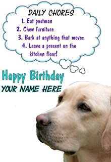 A5 Personalised Golden Labrador Dog Rules Birthday Card RefPIDS38