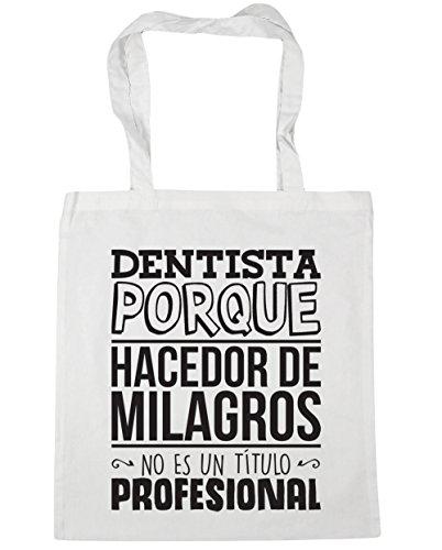 HippoWarehouse Dentista Porque Hacedor de Milagros No Es Un Título Profesional Bolso de Playa Bolsa Compra Con Asas para gimnasio 42cm x 38cm 10 litros capacidad Blanco