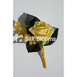 Beautiful Yellow Wedding Rose Buttonhole w/ Lemon Mimosa Sprigs 13