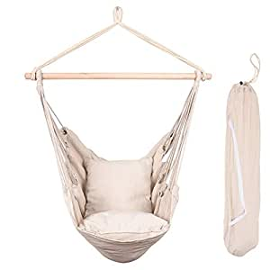Peachy Lazy Daze Hammocks Hanging Rope Hammock Chair Swing Seat With Two Seat Cushions And Carrying Bag Weight Capacity 300 Lbs Natural Ncnpc Chair Design For Home Ncnpcorg