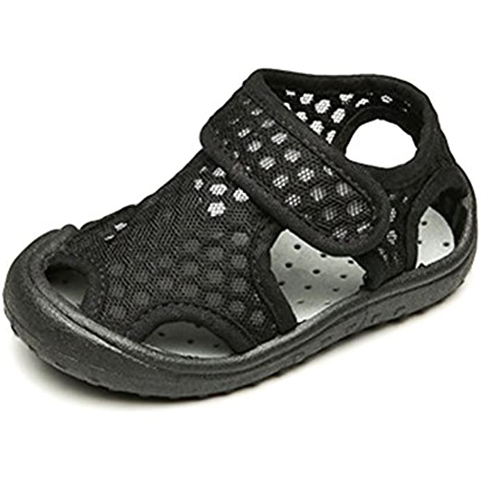YOHA Boys Girls Breathable Mesh Watershoes Soft Rubber Sole Sandals Toddler Sneaker Kids Slip-on Beach Shoes