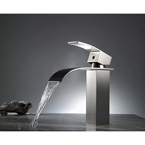 durable modeling Aquafaucet Waterfall Bathroom Brass Vessel Sink Lavatory Vanity Faucet,Nickel Brushed