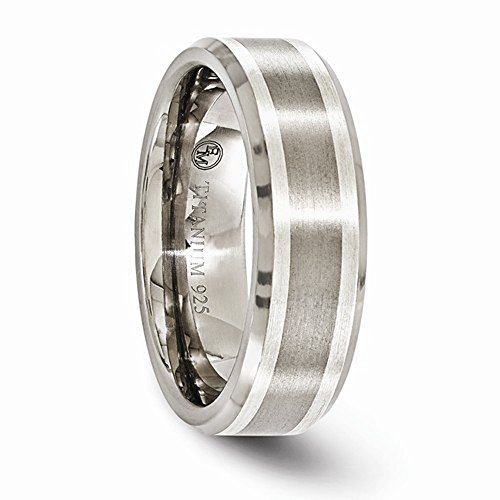 Edward Mirell Brushed and Polished Titanium with Sterling Silver Inlay 7mm Wedding Band - Size 11.5