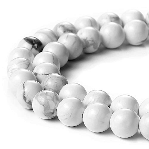 "JARTC AAAA Natural Stone Beads White Howlite Turquoise Round Loose Beads for Jewelry Making 15"" (8mm)"