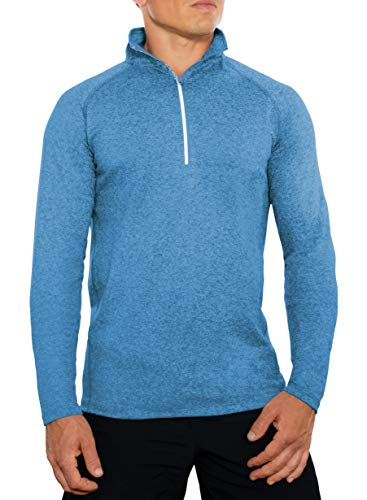 CC Perfect Slim Fit Quarter Zip Pullover Men | Quick Dry Fit Tech Performance | Moisture Wicking Long Sleeve 1/4 Zip Up for Men, Large, Heather Blue
