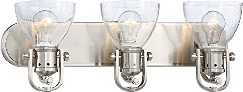 Minka Lavery Urban Industrial Wall Light Fixtures 3413-84 Wall Bath Vanity Lighting, 3-Light 300 Watts, Brushed Nickel