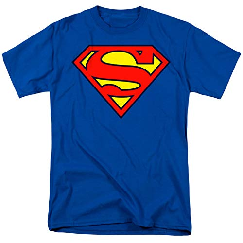 Superman Classic Logo T Shirt & Exclusive Stickers (Large)