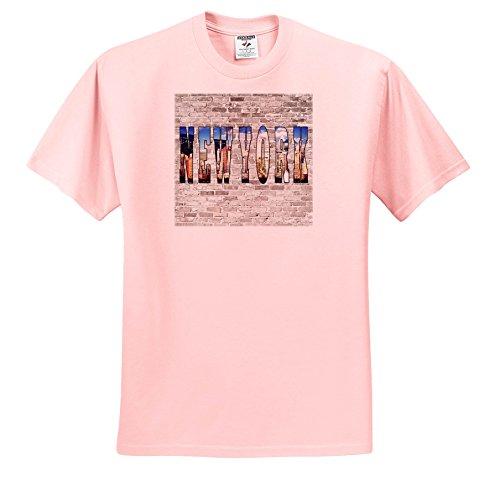 3dRose RinaPiro - Cities Around The World - New York. City That Never Sleeps. Brick Wall. - T-Shirts - Light Pink Infant Lap-Shoulder Tee (24M) (Soho Pink Wall)
