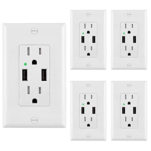 [5 Pack] BESTTEN USB Receptacle Outlets with Dual USB Charging Ports (4.2 Amp Shared) and 2 Tamper-Resistant AC Sockets (15A/125V/1875W), 2 Wall Plates Included, UL Listed, White